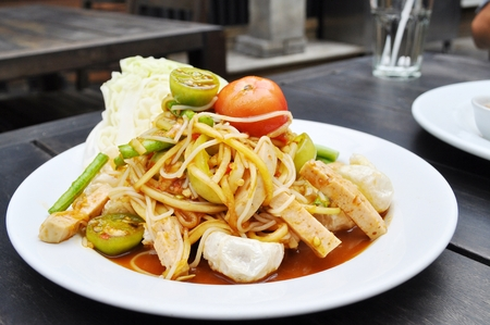 Thai food - Spicy papaya salad photo