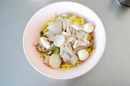 meat lover: Thai pork noodles with fish ball
