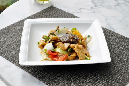 stirred: Thai food - stirred vegetable and pork Stock Photo