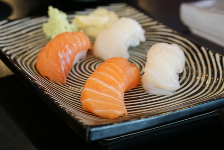 hotate: Japanese food - Salmon Sushi and shell sushi