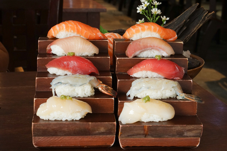 hotate: Japanese food - sushi, rice on top with raw fish
