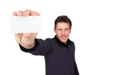 man with business card in hand photo