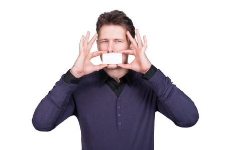 man with business card in mouth photo