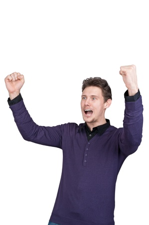 extremely happy young man of white background photo