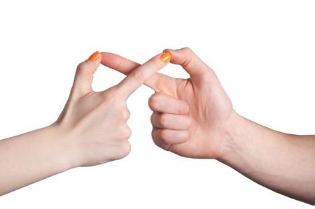 man vrouw symbool: handen tonen de oneindigheid teken Stockfoto
