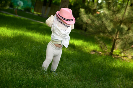 pink hat: A little girl in a pink hat is hiding in her dress Stock Photo