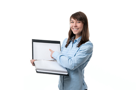 denoted: happy woman points a finger at files