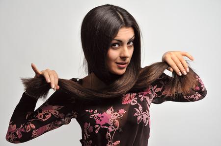 ravishing: Woman with beautiful dark-hair Stock Photo