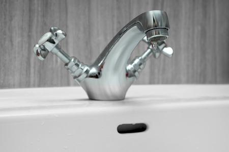 chrome: wash basin made of chrome Stock Photo