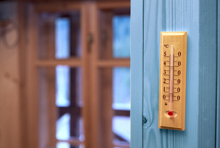 hotter: thermometer in the room Stock Photo