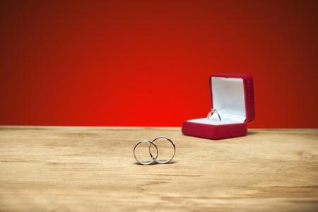 wedding rings: wedding rings in a box Stock Photo