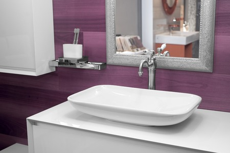 modern wash basin in the bathroom Stock Photo