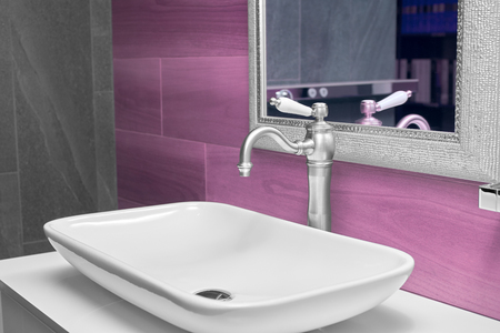 wash basin: modern wash basin in the bathroom Stock Photo