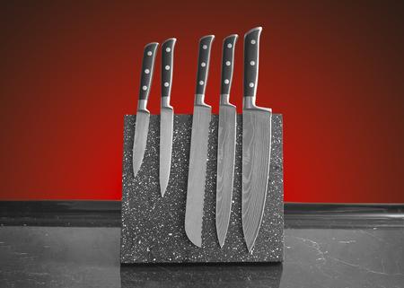 five of damascus steel knife set Reklamní fotografie
