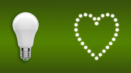 Heart of light bulbs Banco de Imagens
