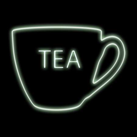 Tea cup icon. Neon glow. Refreshing drink.