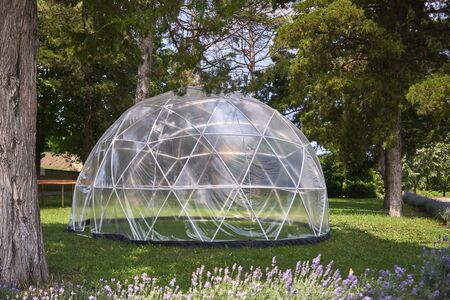 There is a large transparent tent on a green lawn.