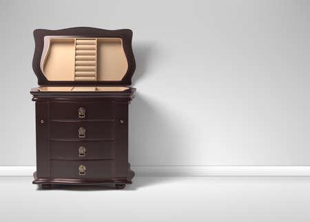 Open chest 3D model. Furniture in neoclassical 3d render. 3d image. 3d illustration