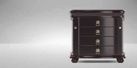 Vintage chest 3D model. Furniture in neoclassical 3d render. 3d image. 3d illustration