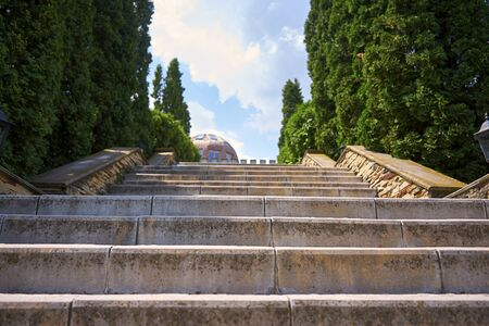 Staircase leading up to the manor. green juniper is planted around