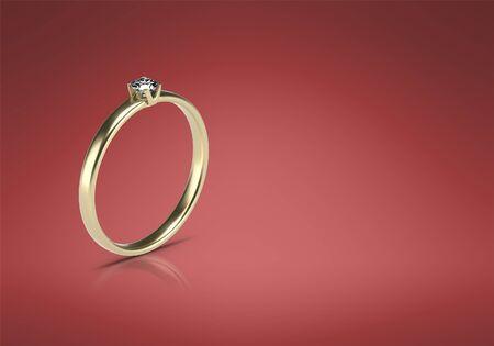 Wedding ring 3d image. Gold ring 3d render. Banque d'images - 131800495