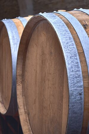 beautiful photo of a wooden barrel of wine. macro