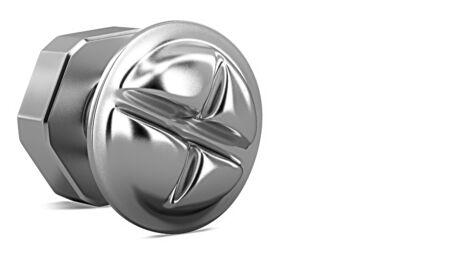 3D model iron bolt. 3d render metal nut.