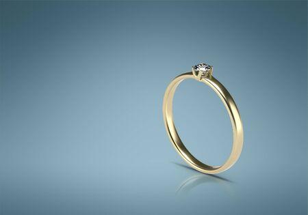 Wedding ring 3d image. Gold ring 3d render.