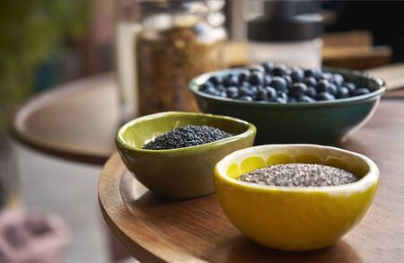 Beautiful ceramic plate with delicious blueberries