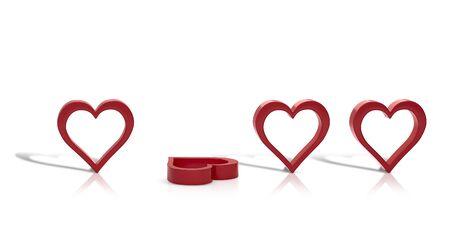 heart 3D model. symbol of love 3d render. 3d image.