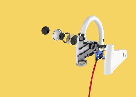 Wireless headphones 3d render.
