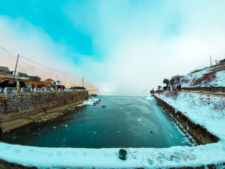 Tsongmo lake - famous Tsongmo lake of East Sikkim,India during the winter with snow and ice