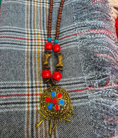 North Indian traditional handmade ornaments used a necklace with colorful design from Darjeeling
