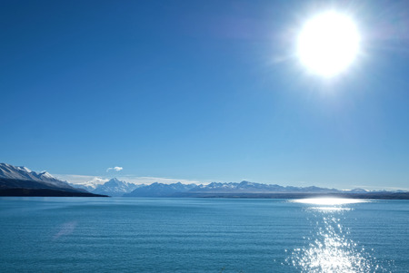 on our way to Mt Cook driving pass lake pukaki Imagens - 115682020