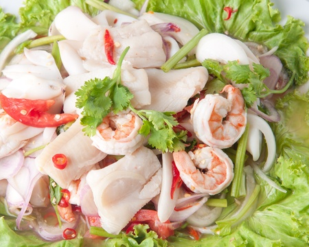 seafood salad with thai food style, very delicious with thai salad seafood. photo