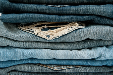 bluejeans: Close up Stack Blue Jeans Stock Photo