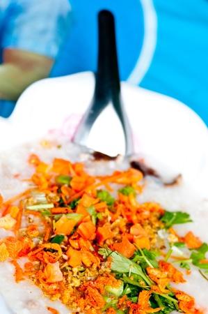 Close chinese porridge rice that thai people photo