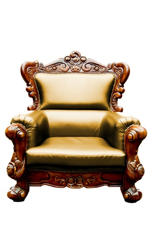 vintage yellow luxury leather armchair isolated
