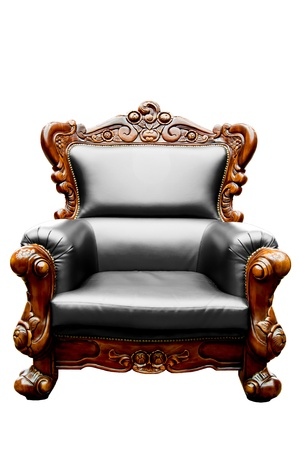 leather armchair: vintage Black luxury leather armchair isolated Stock Photo