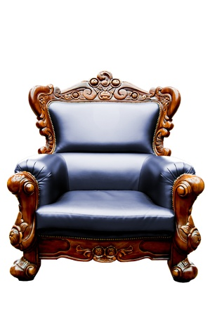vintage dark blue luxury leather armchair isolated photo