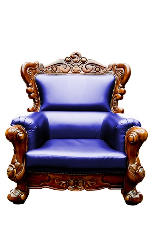 vintage dark purple luxury leather armchair isolated photo