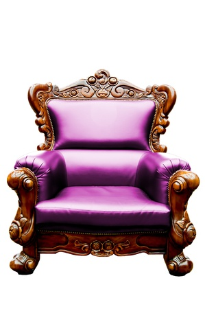 vintage sweet pink luxury leather armchair isolated photo