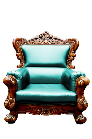 vintage blue green luxury leather armchair isolated photo