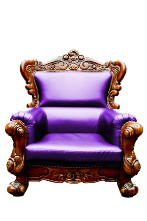 vintage purple luxury leather armchair isolated photo