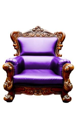 wood carving: vintage purple luxury leather armchair isolated
