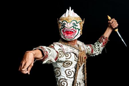 "Hanuman of Thailand Dancing art called ""Khon"" that high class of dance in Siam Bangkok Thailand. Studio Female Dancing art with Black back ground"