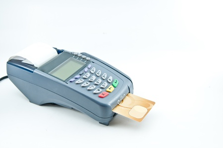 Close up Payment machine on during using Credit card from customer in shopping mall Stock Photo