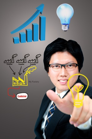 Businessman finger touch Factory logo in concept easy logistics supply photo