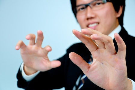 Businessman finger key with touch screen keyboard Stock Photo - 13365748