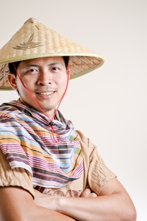 hoi an: Young Vietnamese man in Studio Stock Photo